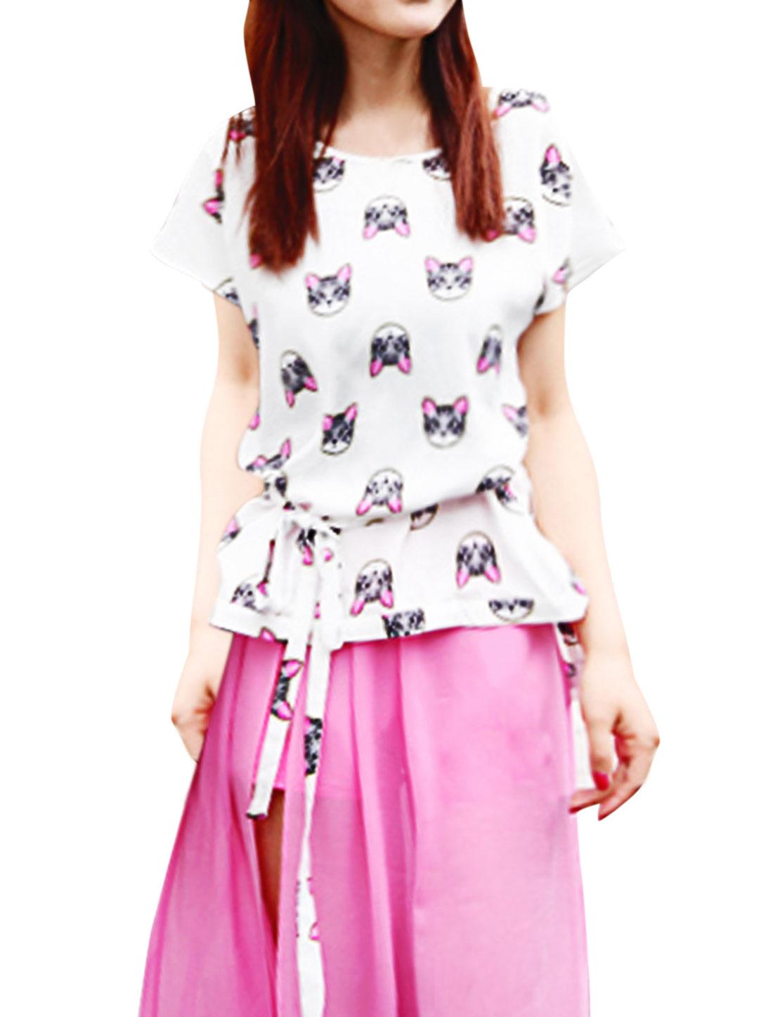 Lady Cat Pattern High Low Hem Self Tie Waist Strap Blouse White XS