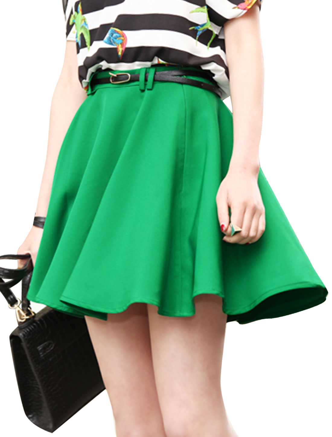 Women Belt Loop Concealed Zipper Back Skirt w Belt Green M