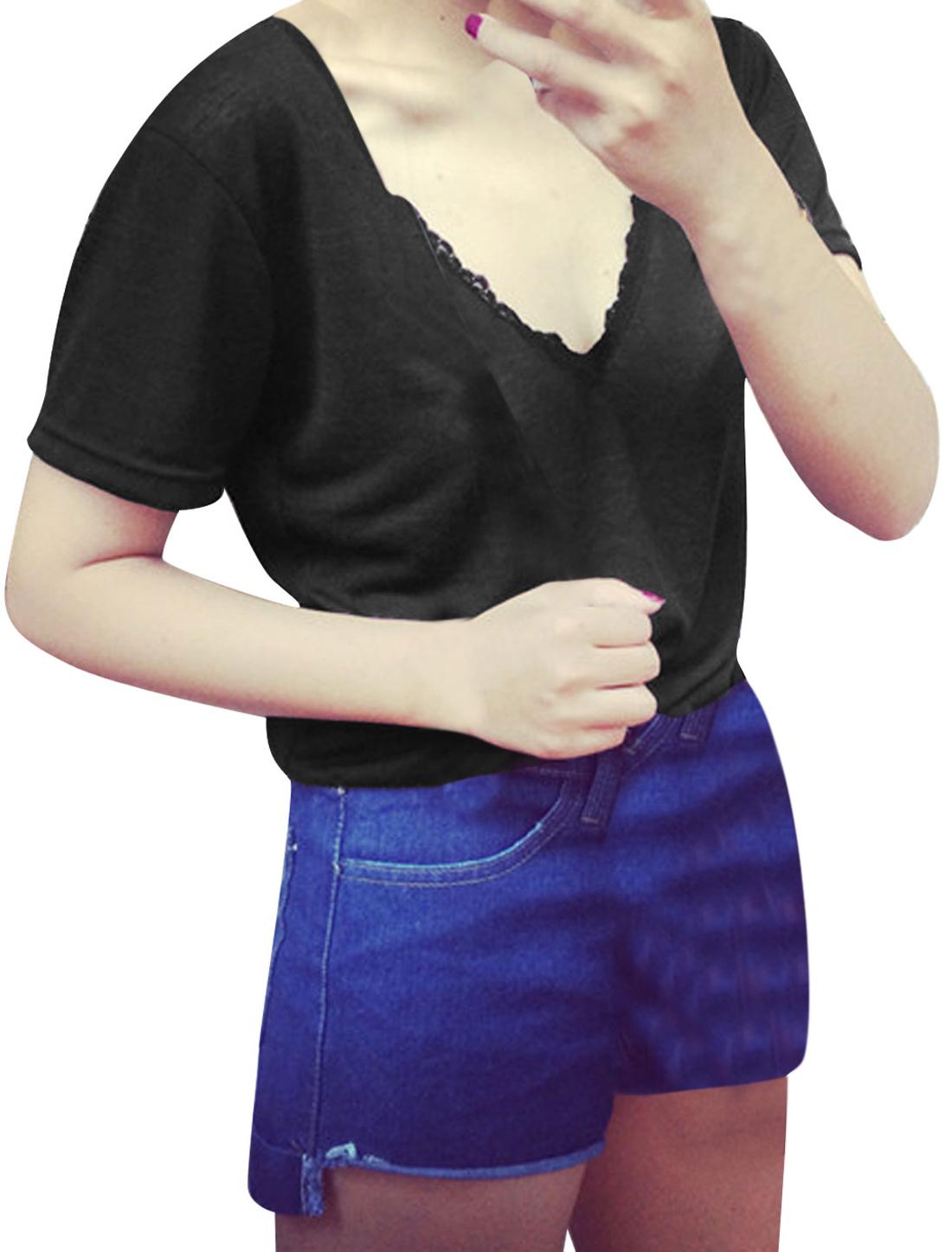 Lady V Neck Short Sleeve Lace Panel Thin T-Shirt Black XS