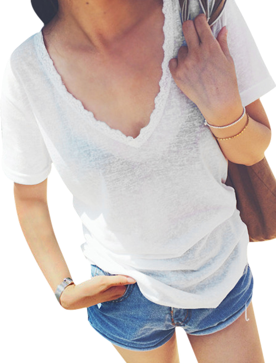 Lady Pullover V Neck Lace Patchwork Thin T-Shirt White XS