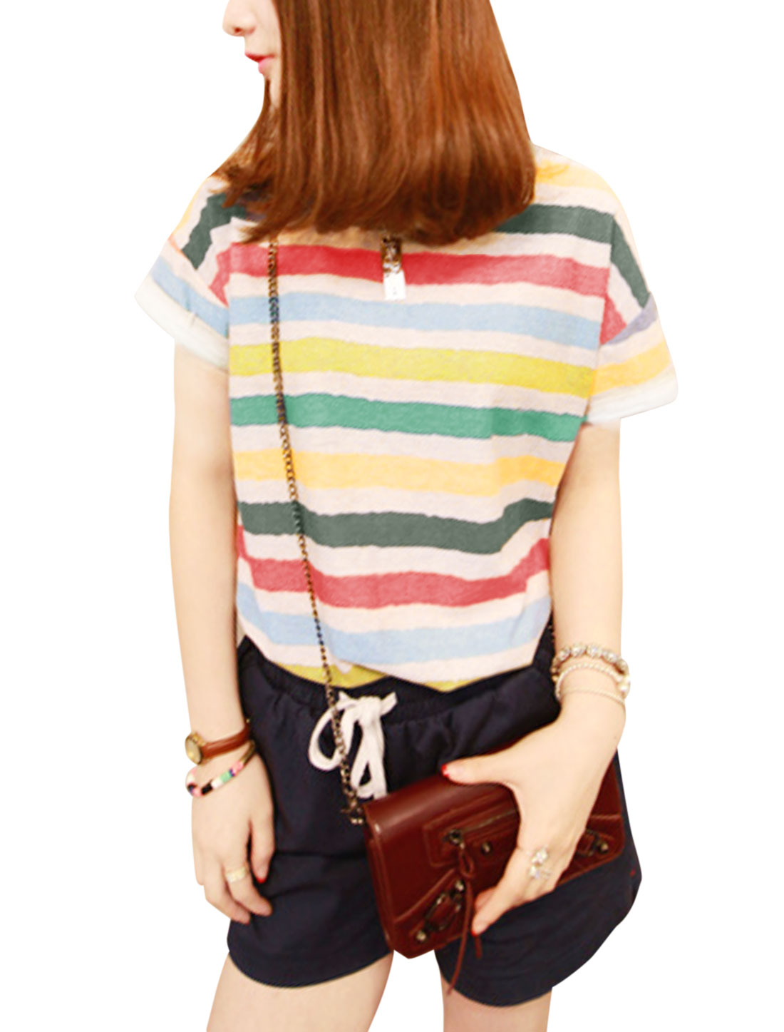 Lady Round Neck Short Sleeve Stripes Semi Sheer T-Shirt Multicolor XS