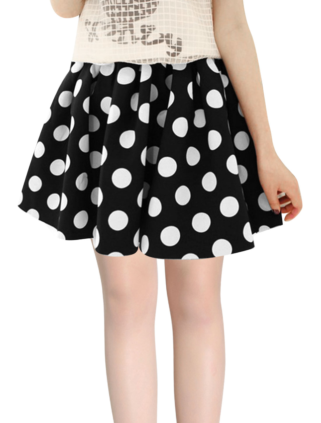 Women Hidden Zipper Side Dots Prints A-Line Skirt Black XS