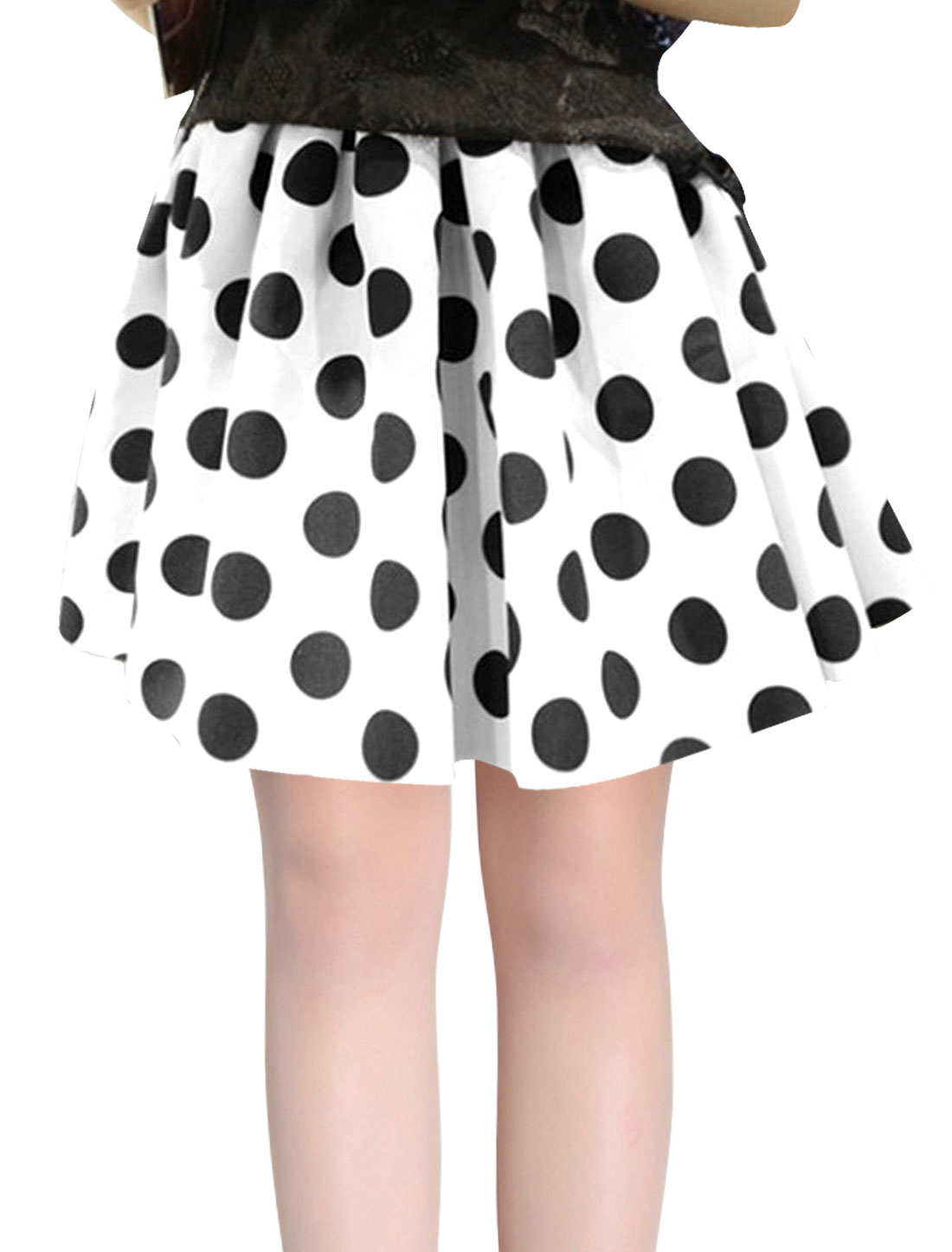 Women Summer Hidden Zipper Side Dots Prints A-Line Skirt White XS