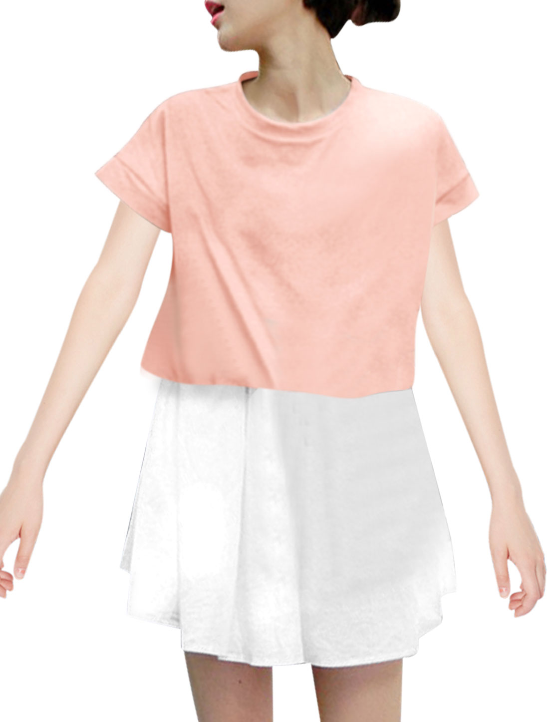 Lady Crew Neck Short Batwing Sleeve Layered Dress Pink XS