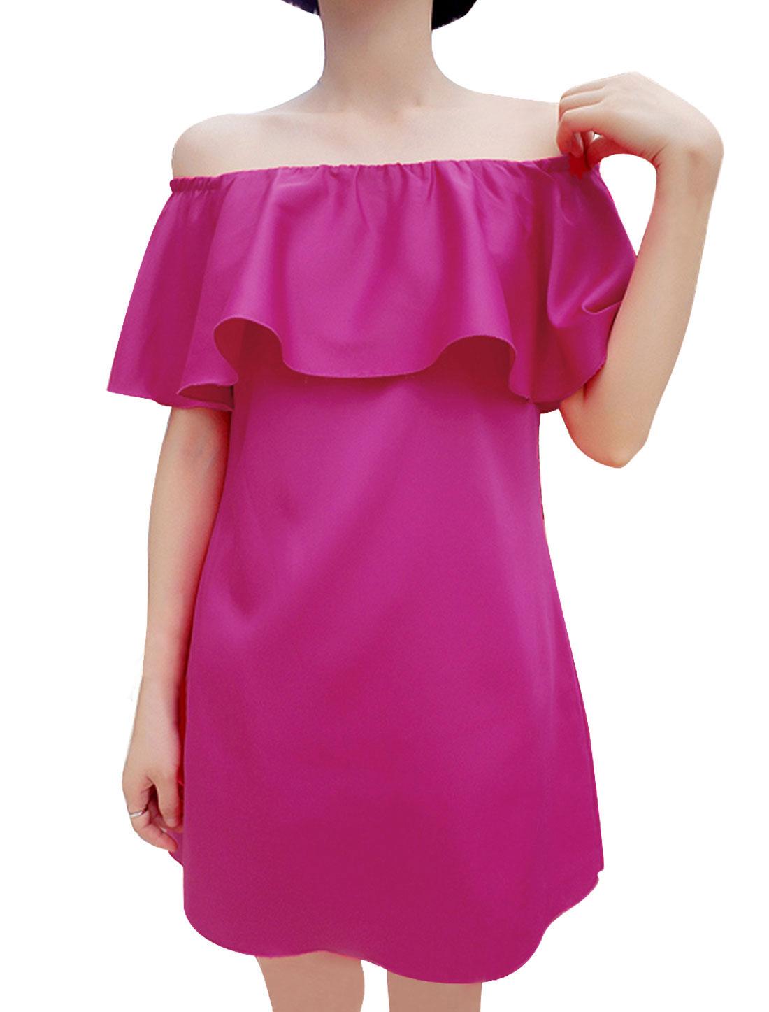 Lady Off Shoulder Flouncing Design Zipper Back Dress Fuchsia M