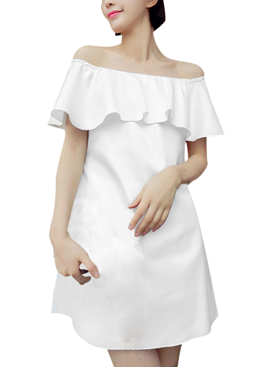 Lady Pullover Flouncing Design Concealed Zipper Back Dress White M