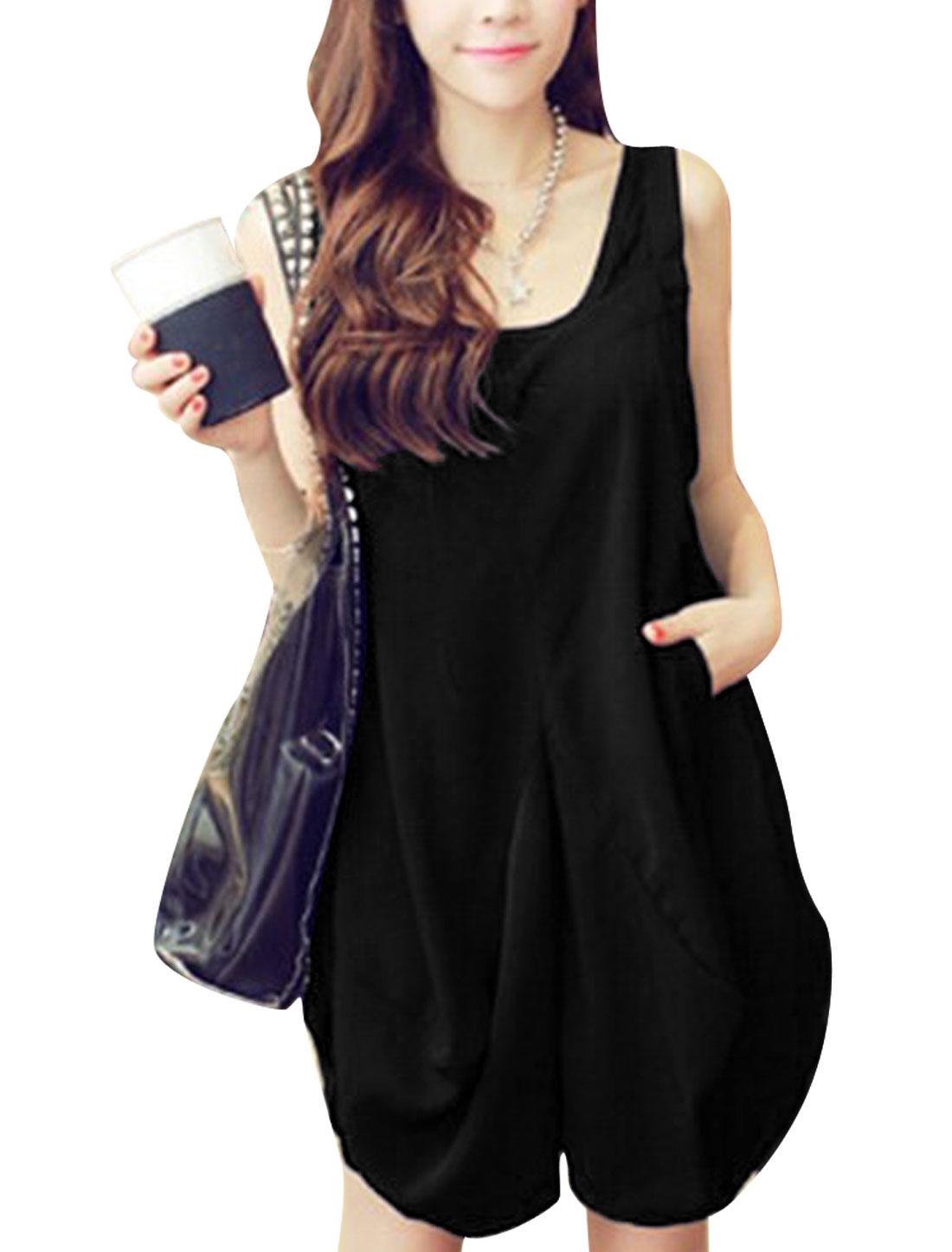 Lady V Neck Double Welt Pockets Lantern Dress Black S