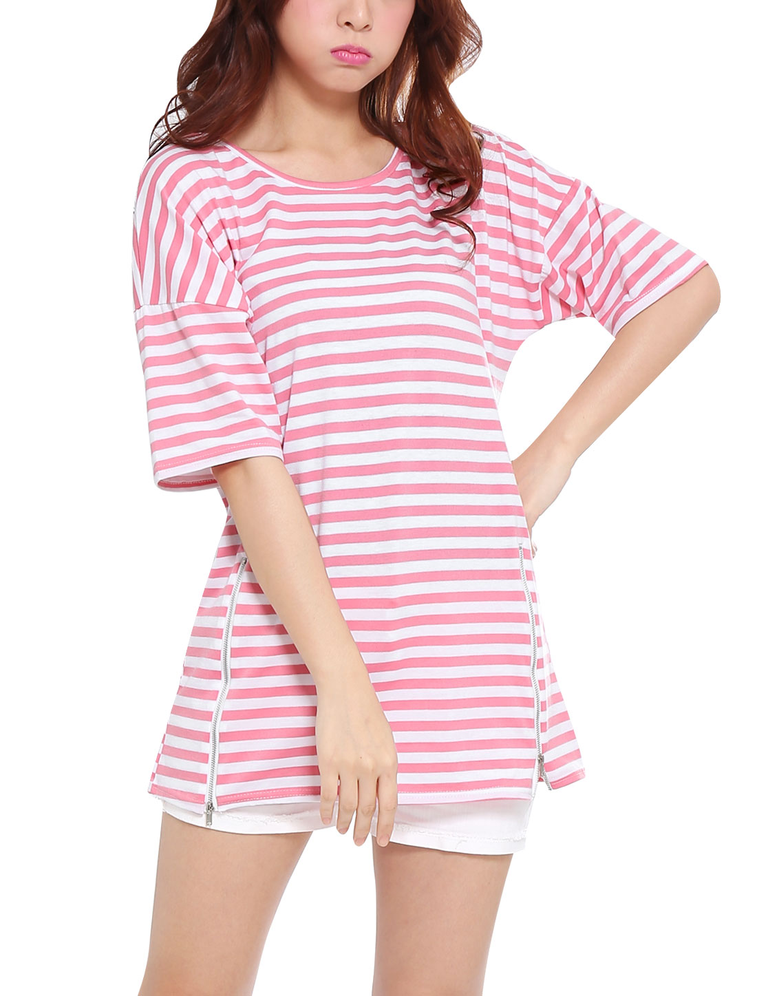 Lady Round Neck Short Batwing Sleeve Stripes Tunic Top Pink XS