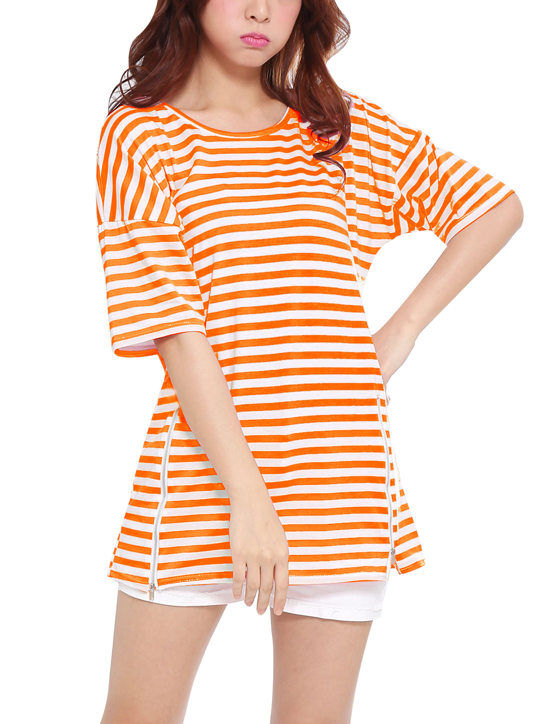 Lady Pullover Half Batwing Sleeve Stripes Tunic Top Orange XS