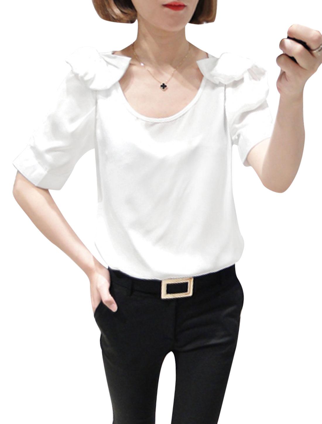 Women Stylish Short Sleeve Cut Out Shoulder Bowknot Decor Blouse White XS
