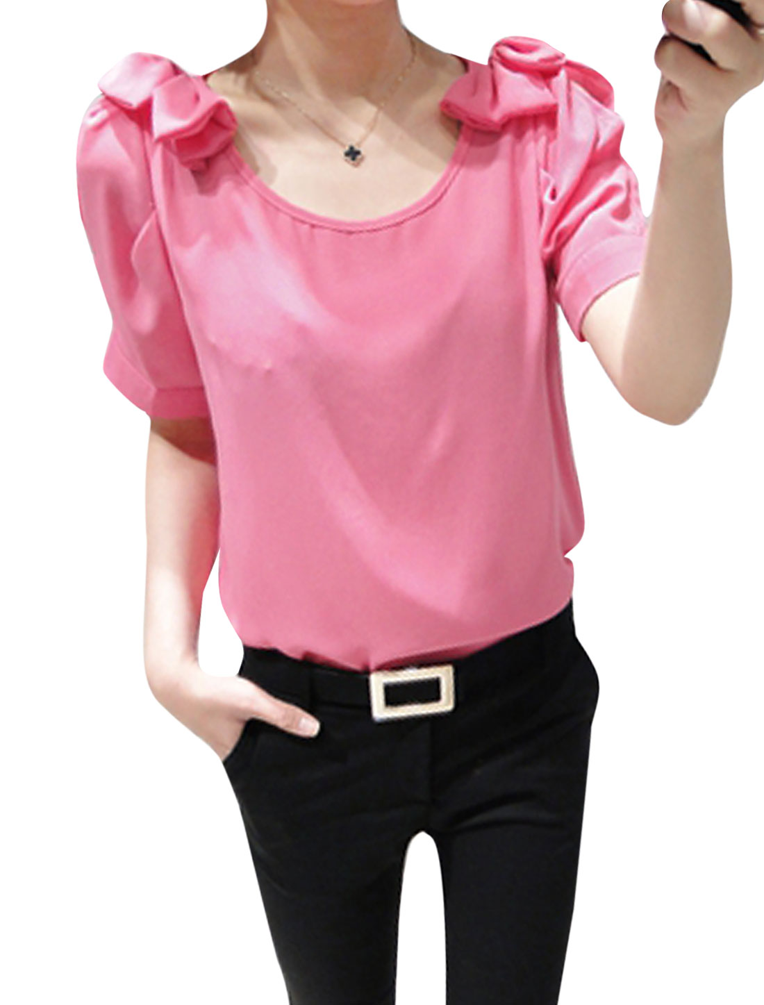 Women Summer Cut Out Shoulder Bowknot Decor Blouse Fuchsia XS