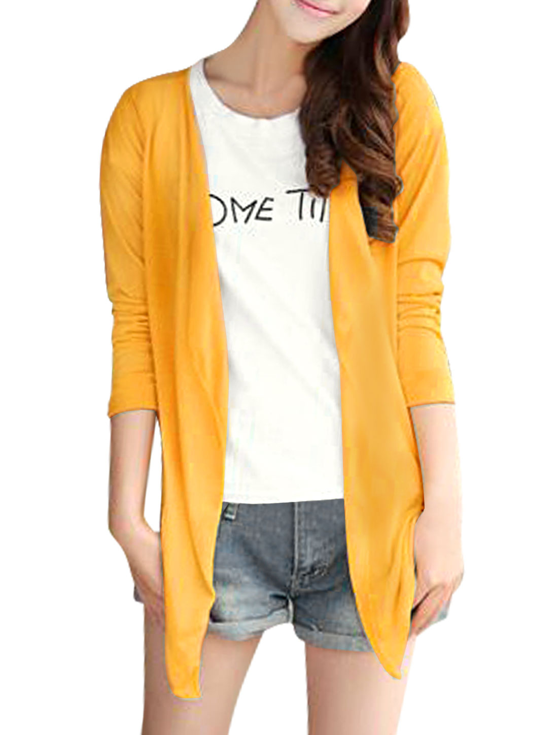 Lady Opening Front Semi Sheer Design Fashion Cardigan Yellow S