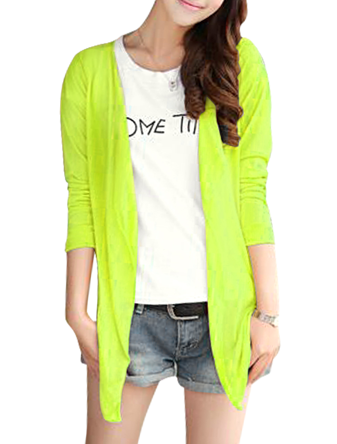 Ladies Opening Front Semi Sheer Low High Hem Cardigan Lime S