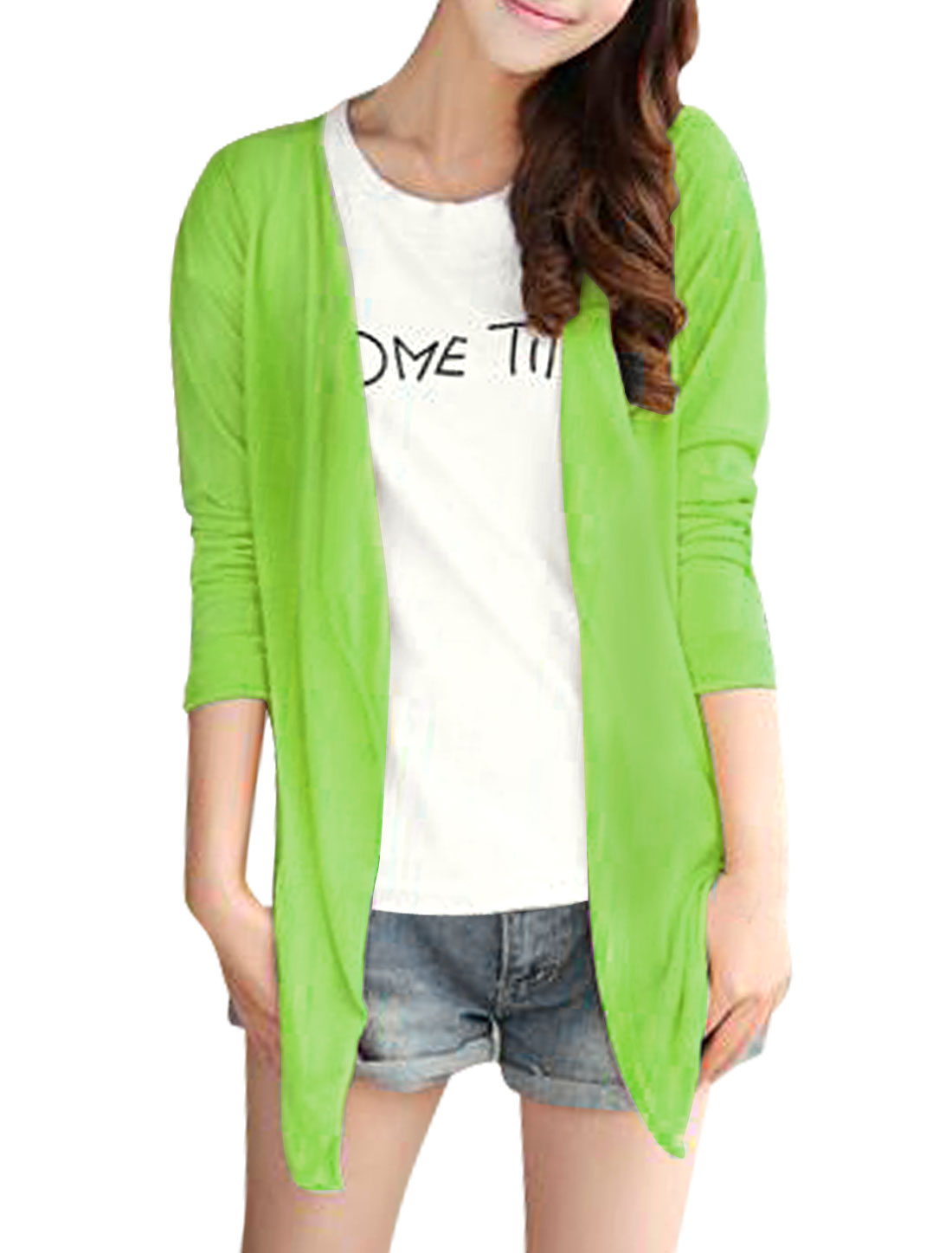 Lady Opening Front Semi Sheer Design Long Sleeve Cardigan Apple Green S
