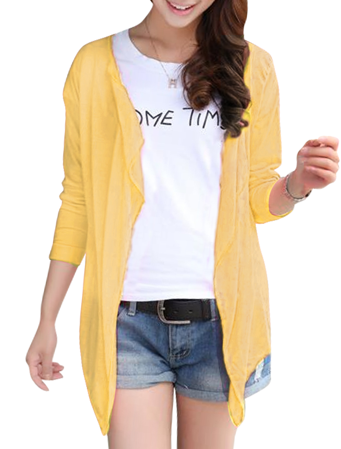 Lady Semi Sheer Design Long Sleeve Cardigan Light Yellow S