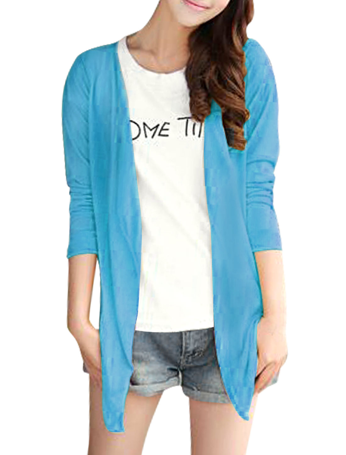Lady Opening Front Low High Hem Long Sleeve Cardigan Sky Blue S