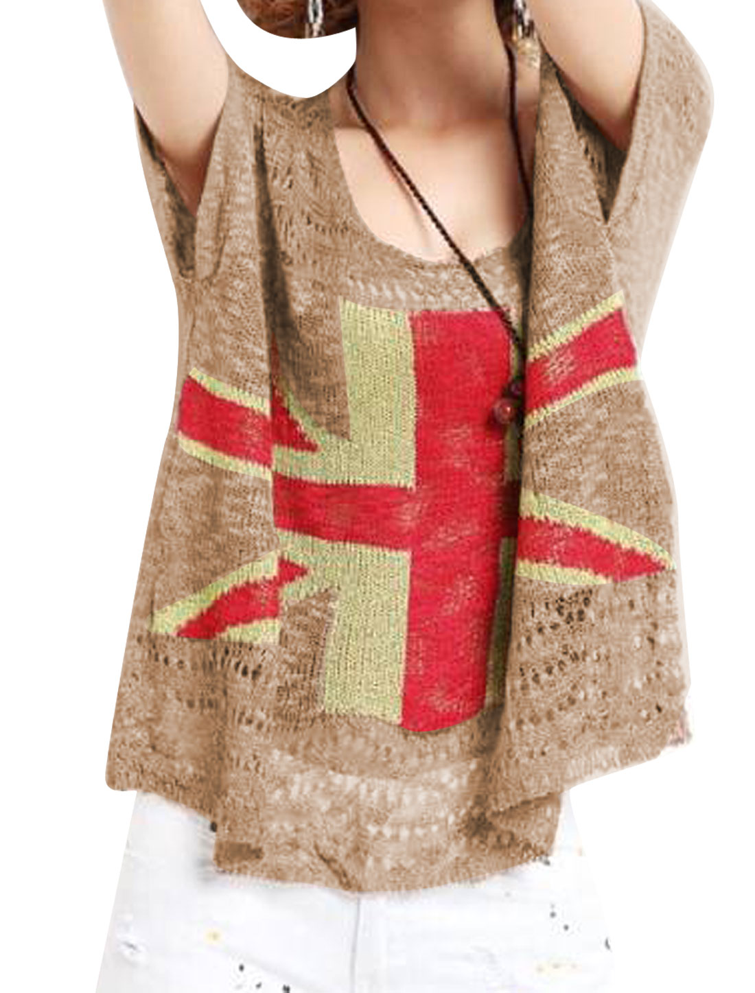 Lady Scoop Neck British Flag Hollow Out Knit Top Coffee Brown S