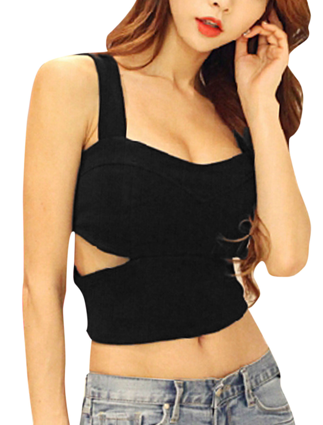 Lady Padded Bust Cut Out Design Elastic Back Zip Fly Cami Top Black XS