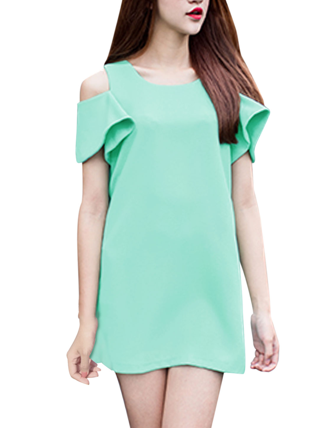 Lady Round Neck Cut Out Shoulder Butterfly Sleeve Dress Mint XS