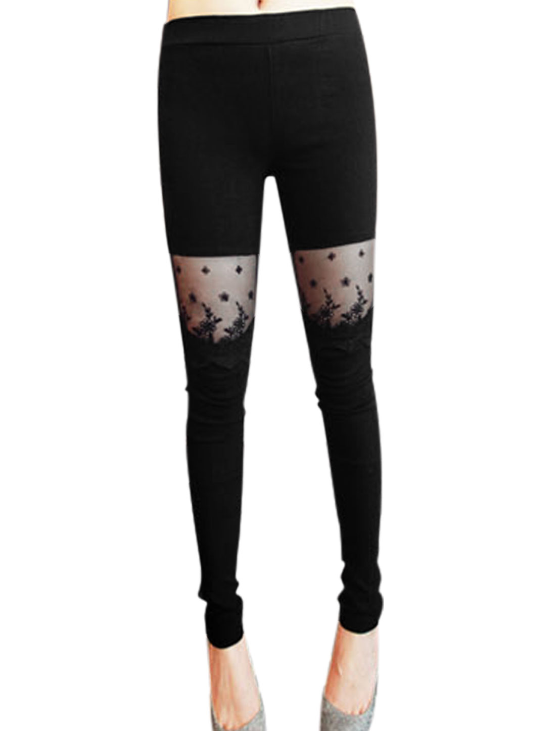 Ladies Elastic Waist Lace Patchwork Skinny Stretchy Leggings Black XS