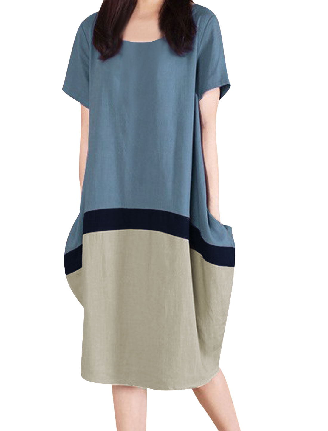 Lady Short Sleeve Colorblock Knee-Length Linen Dress Dark Teal XS