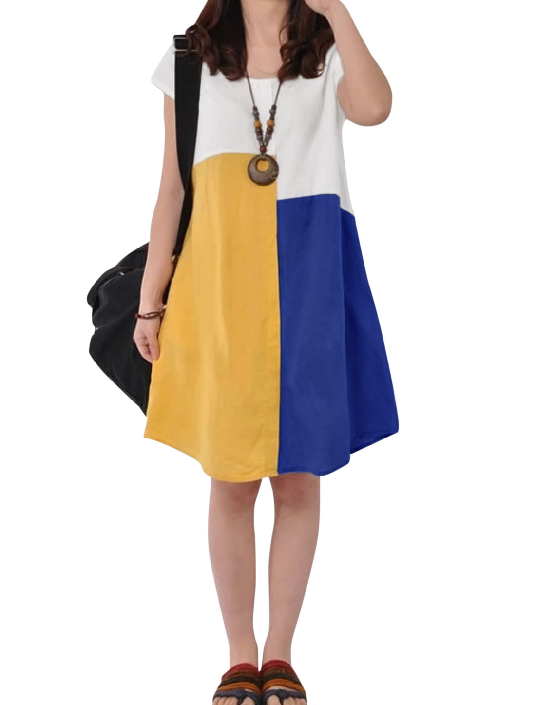 Women Short Sleeve Colorblock Panel Style Dress Multicolor S