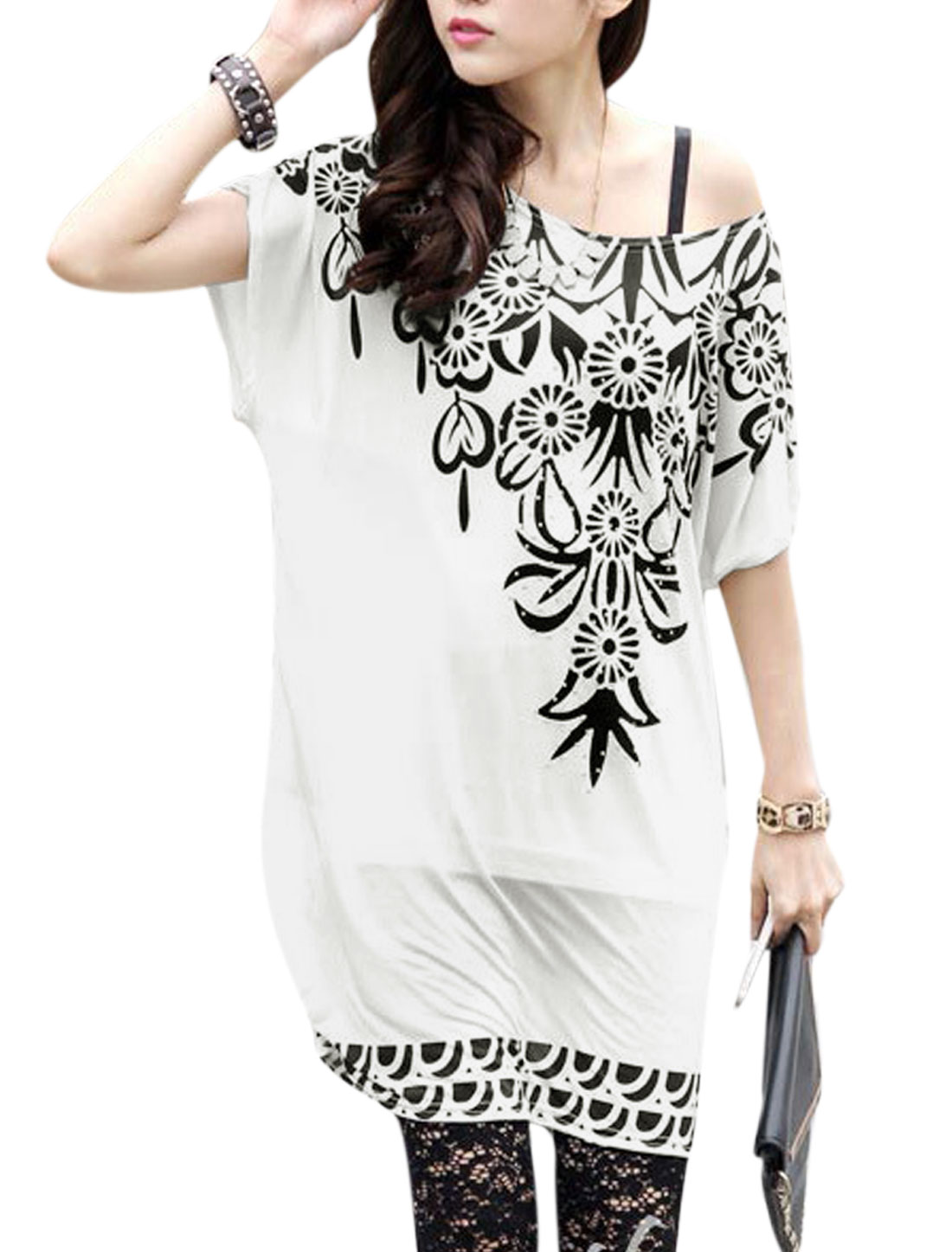 Women Short Sleeve Floral Prints Loose Casual Tunic Blouse White S