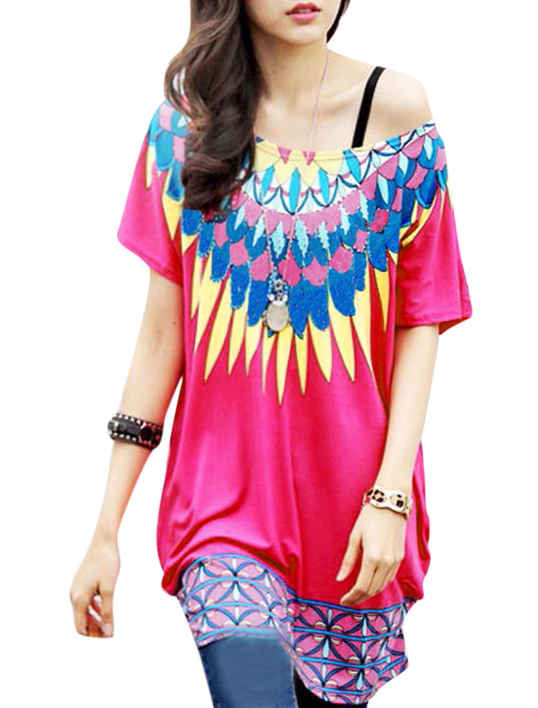 Lady Short Batwing Sleeve Novelty Prints Cozy Fit Tunic Blouse Fuchsia S