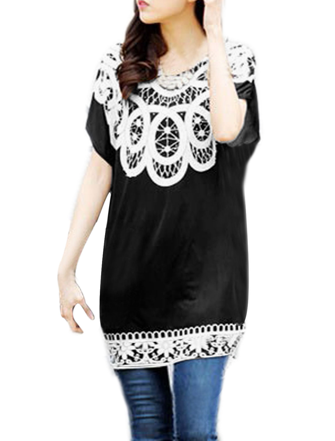 Ladies Leisure Novelty Prints Batwing Design Tunic Blouse Black S