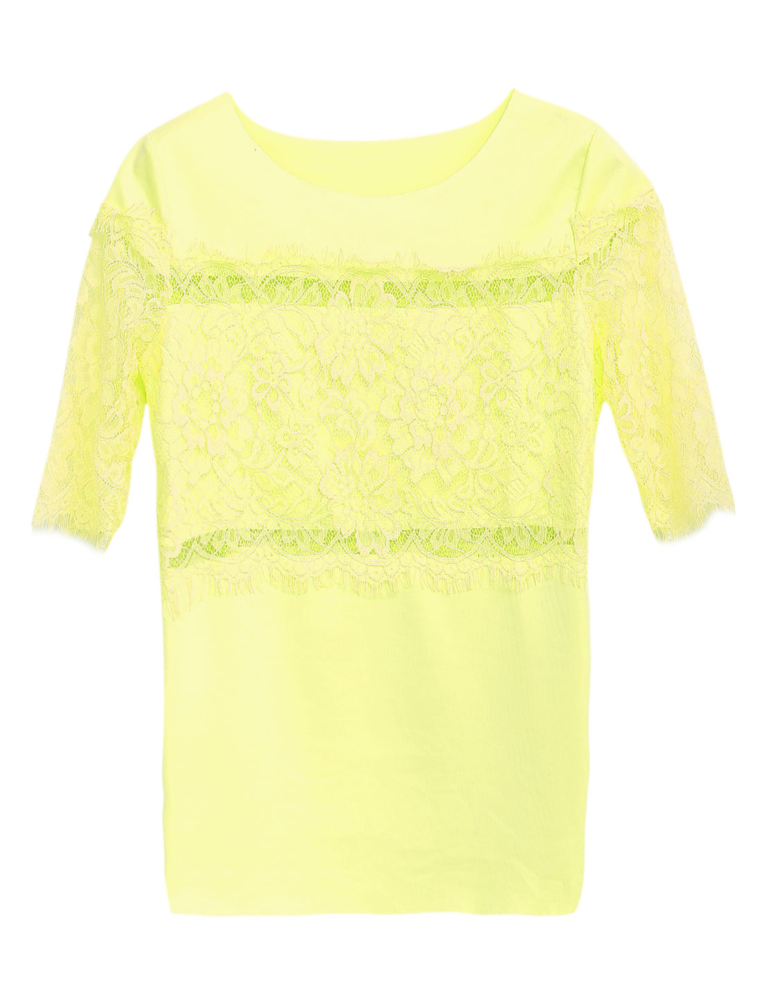 Women Elbow Sleeve Eyelash Lace Detail Sweet Chic Blouse Light Yellow S