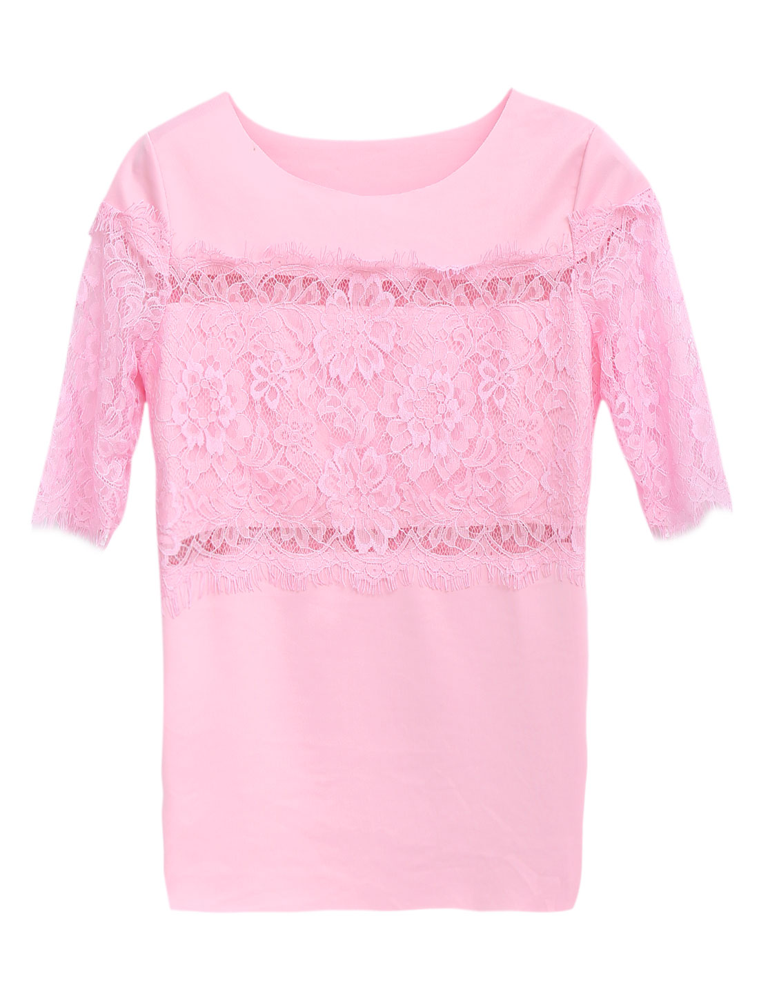 Women Round Neck Eyelash Lace Detail Sweet Chic Blouse Light Pink S