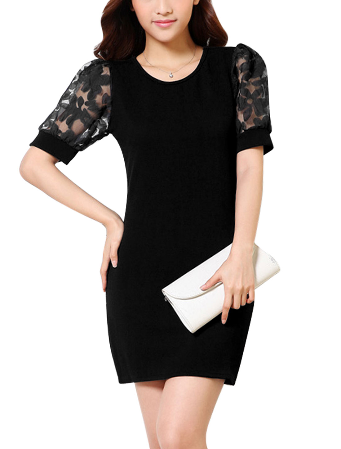 Lady Round Neck Organza Panel Slim Fit Pullover Sheath Dress Black M