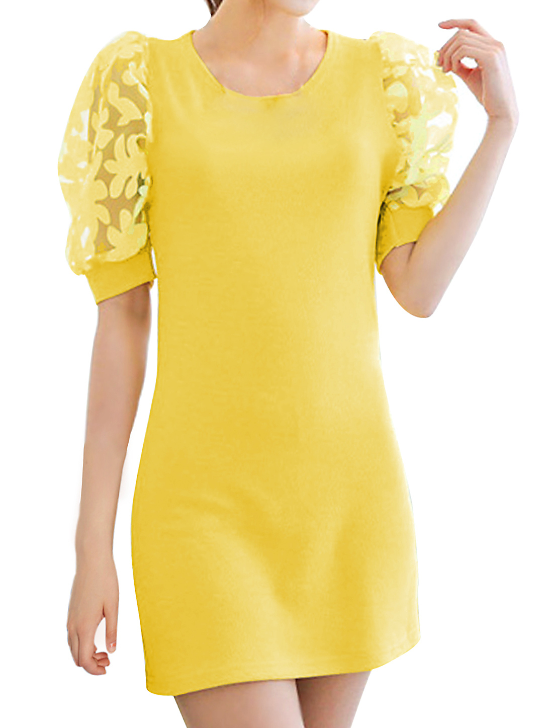 Lady Organza Panel Short-sleeved Slim Fit Sheath Dress Yellow M