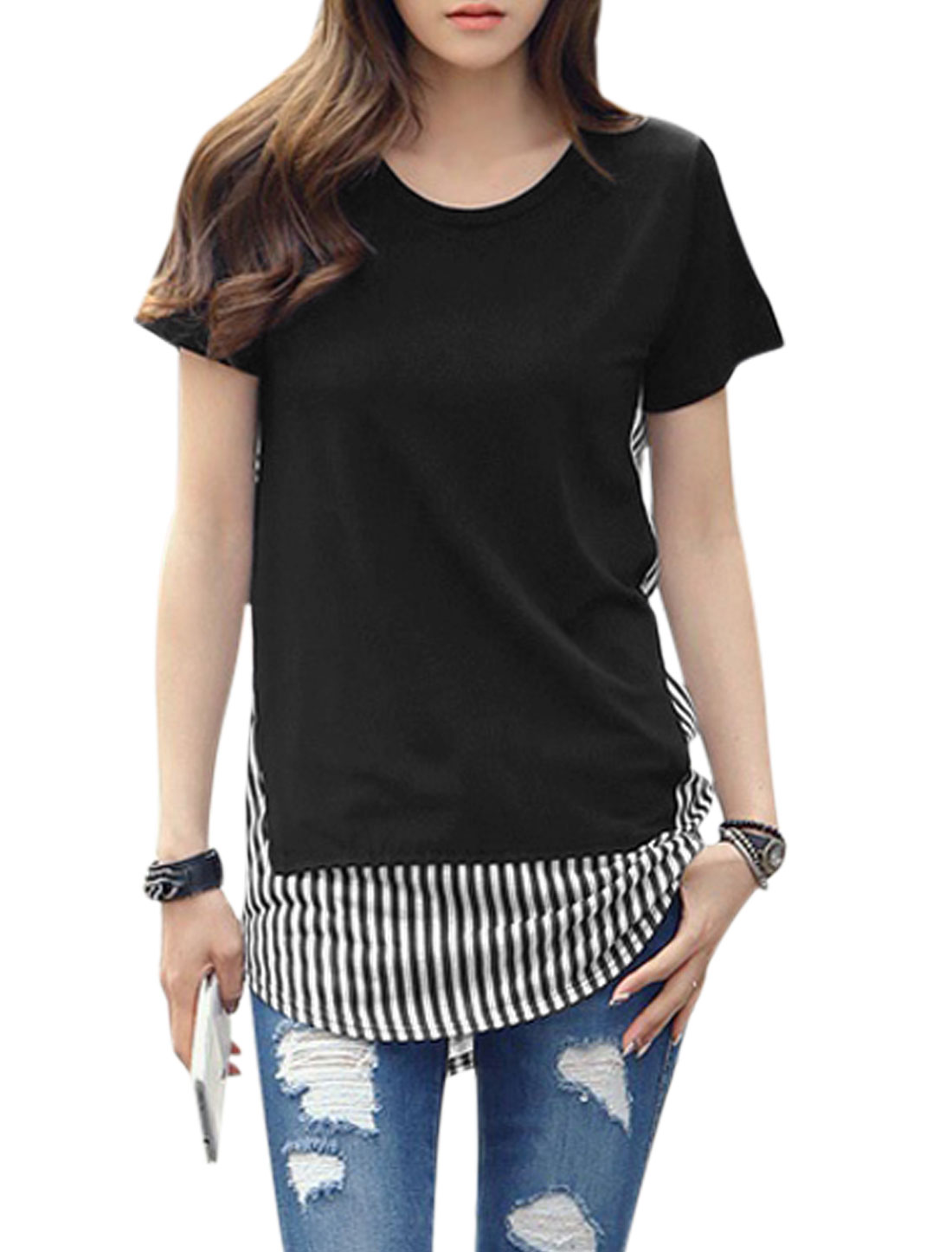 Lady Vertical Stripes Round Hem Short Sleeve Panel Tunic T-Shirt Black XS