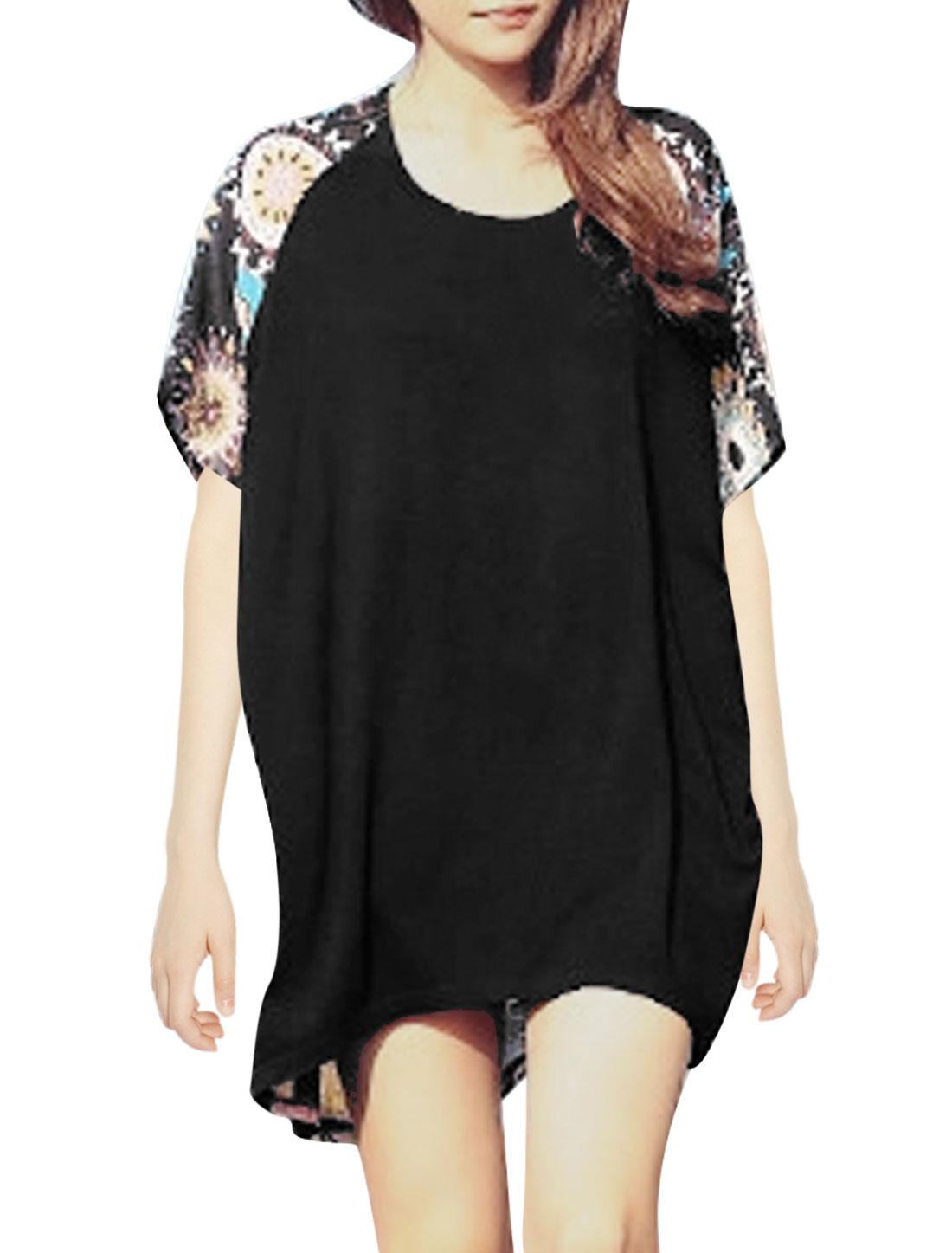 Lady Geometric Prints Low High Hem Chiffon Panel Tunic T-Shirt Black XS