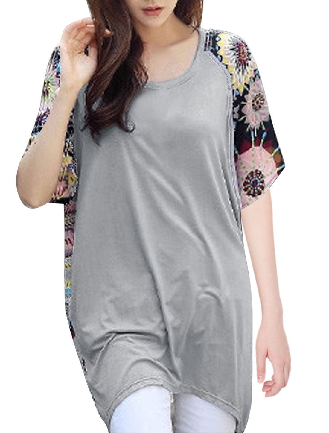 Lady Geometric Prints Irregular Hem Chiffon Spliced Tunic T-Shirt Light Gray XS