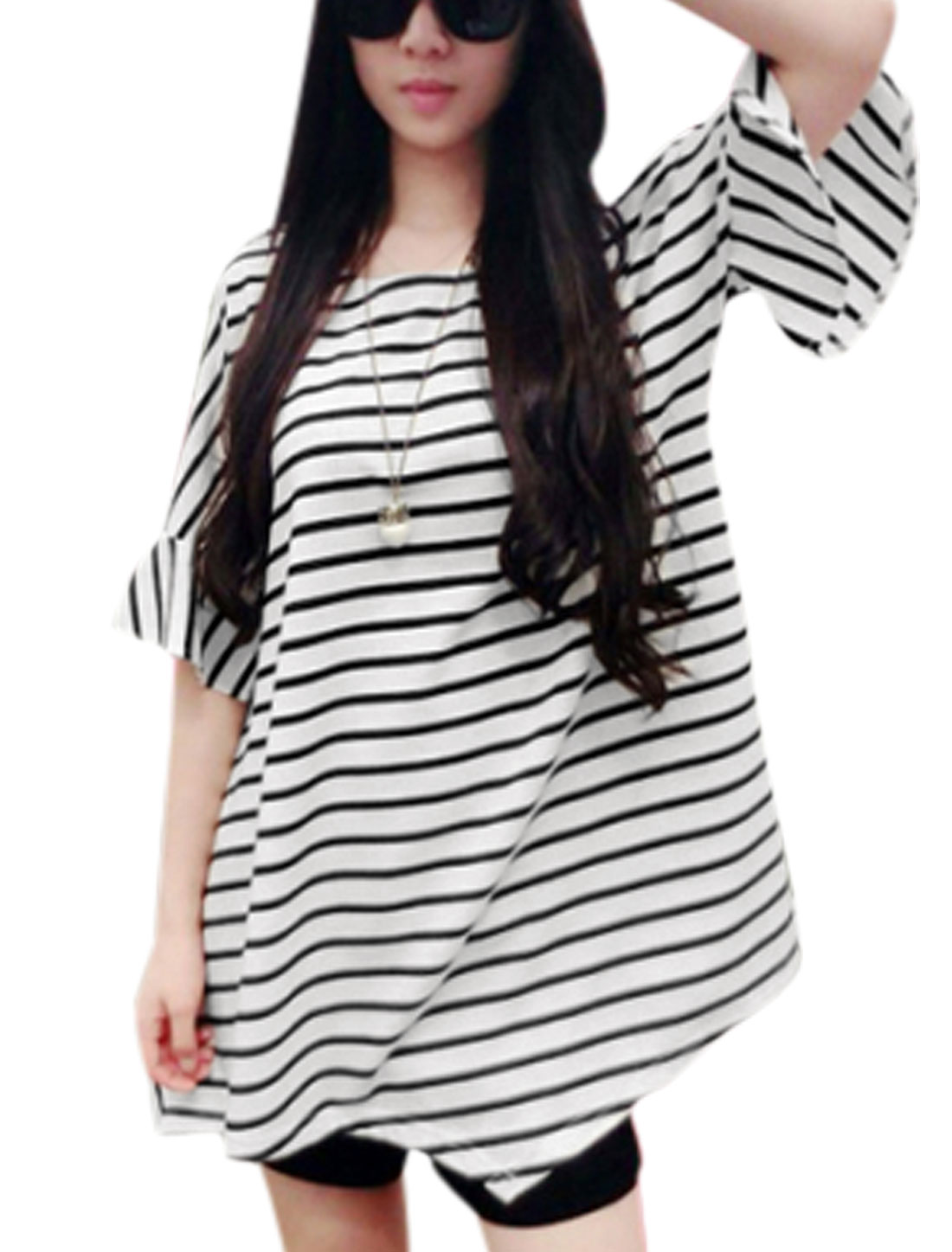 Lady Round Neck Stripes Pattern Cut Out Shoulder Tunic T-Shirt White XS