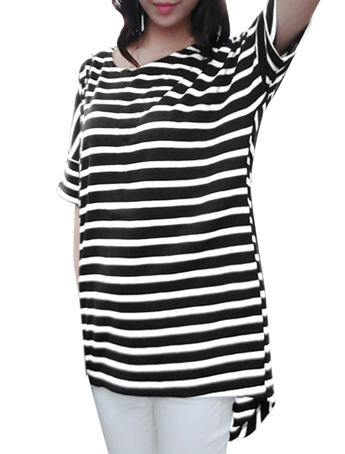 Lady Stripes Pattern Round Neck Batwing Elbow Sleeve Tunic T-Shirt Black XS