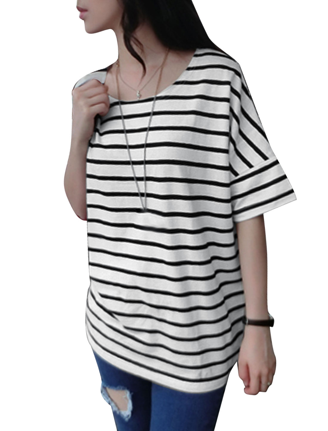 Lady Horizontal Stripes Low High Hem Batwing Elbow Sleeve Tunic T-Shirt White XS