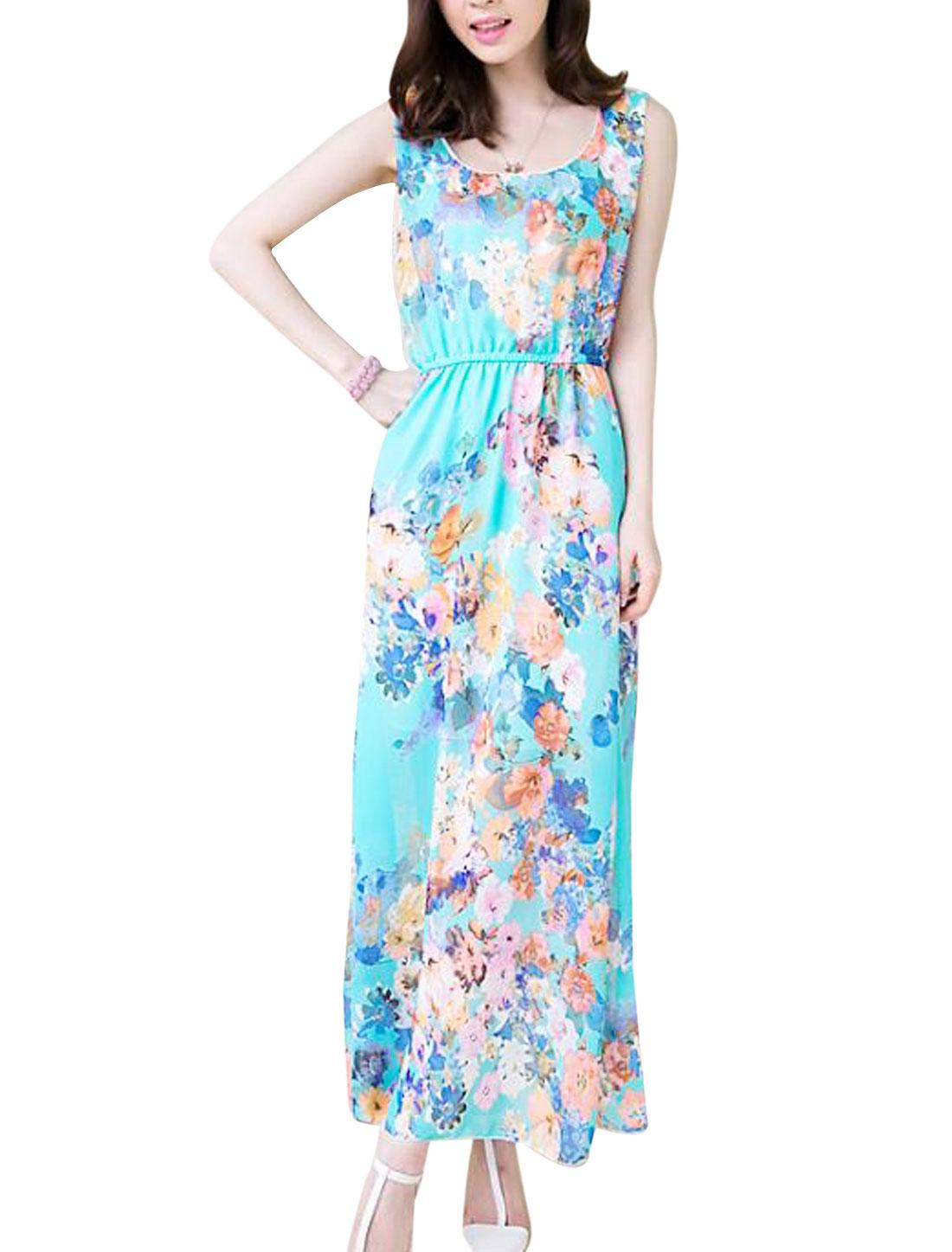 Lady Floral Prints Round Neck Sleeveless Elastic Waist Blouson Dress Navy Blue XS
