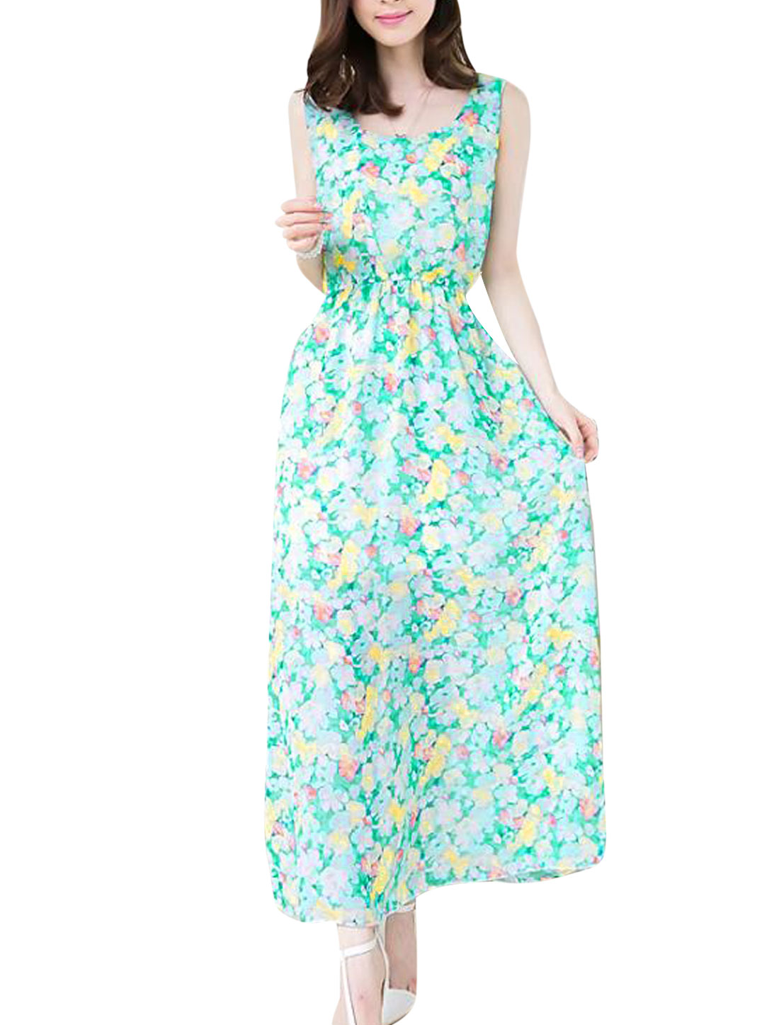 Lady Floral Prints Elastic Waist Lining Chiffon Blouson Dress Light Green XS