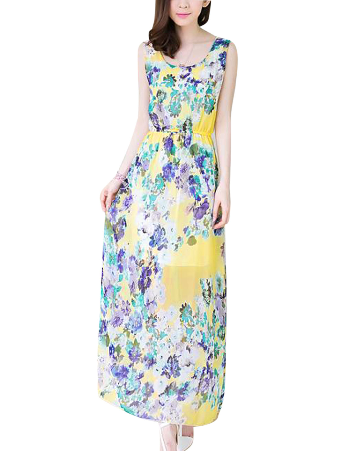 Lady Flower Pattern Sleeveless Elastic Waist Long Blouson Dress Yellow XS