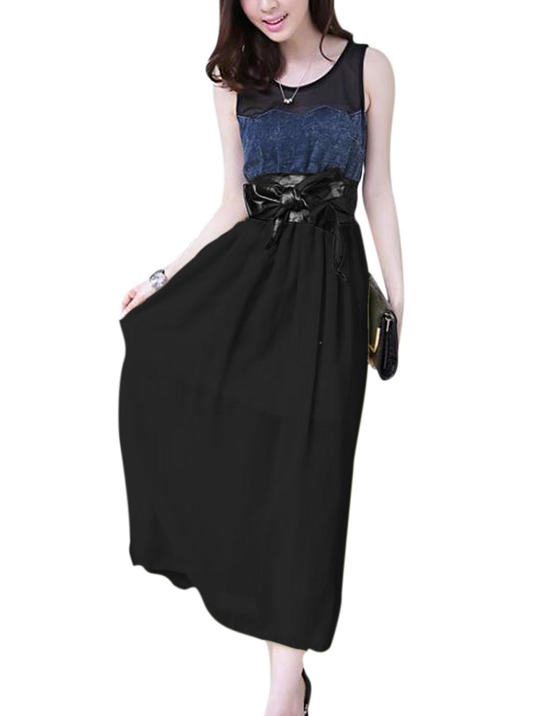 Women Sleeveless Denim Splicing Mid-Calf Sweet Chiffon Dress Black XS