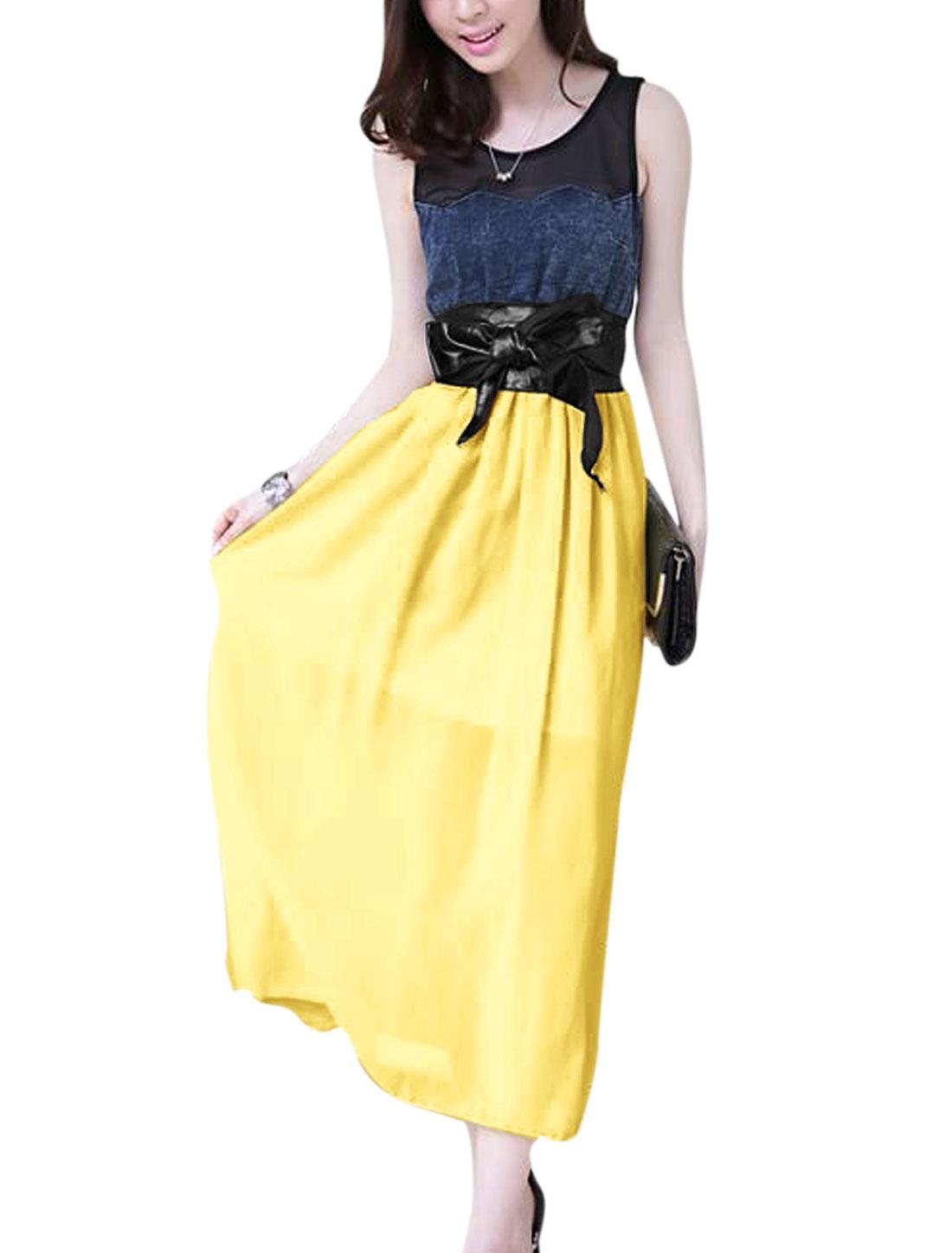 Women Mesh Patchwork Self Tie Waistband Sweet Chiffon Dress Light Yellow XS