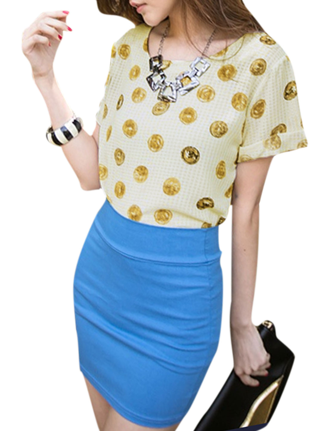 Lady Round Neck Short Sleeve Coin Prints T-Shirt Light Yellow XS