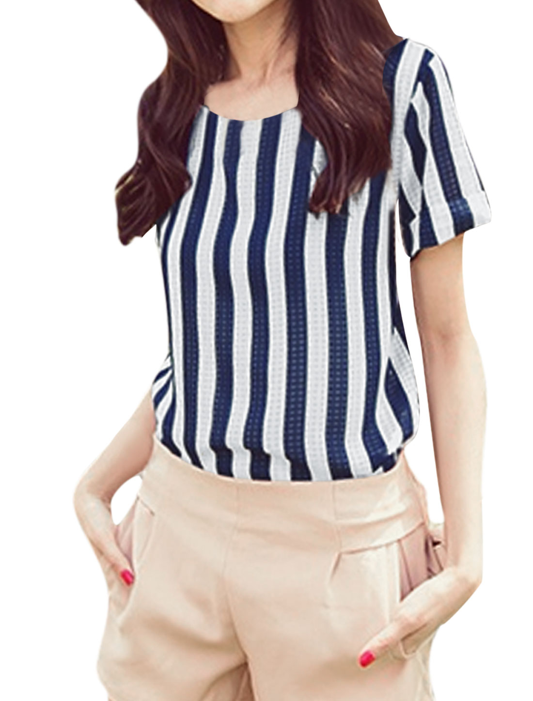 Lady Round Neck Stripes Prints T-Shirt White Navy Blue XS