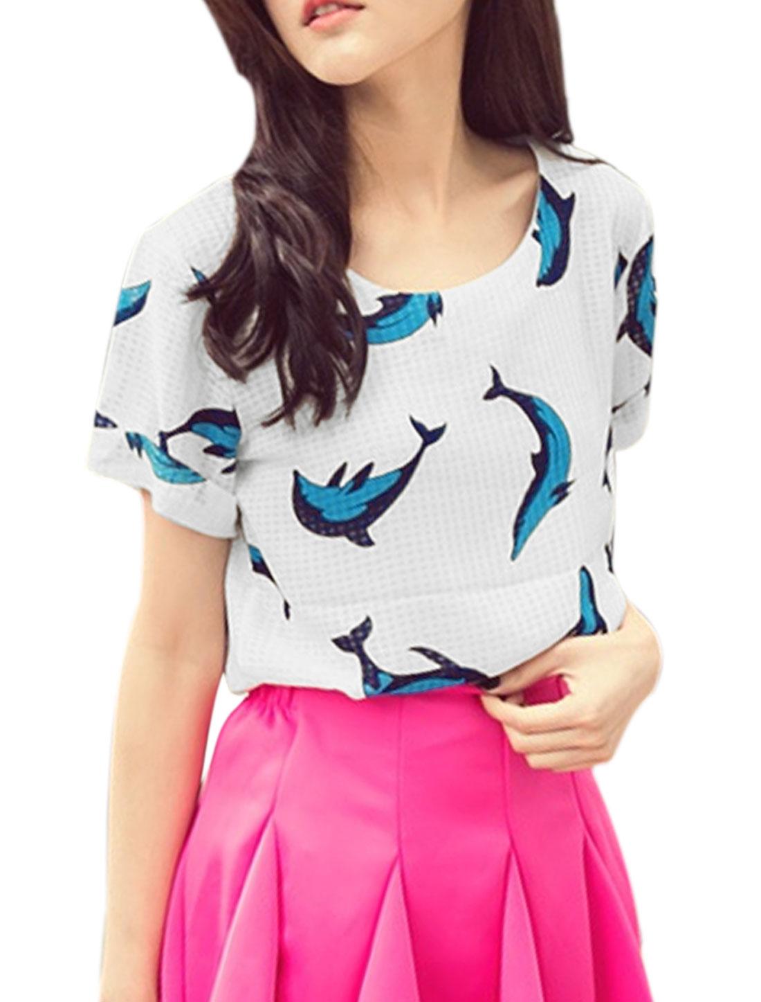 Lady Round Neck Short Sleeve Dolphins Prints T-Shirt White XS