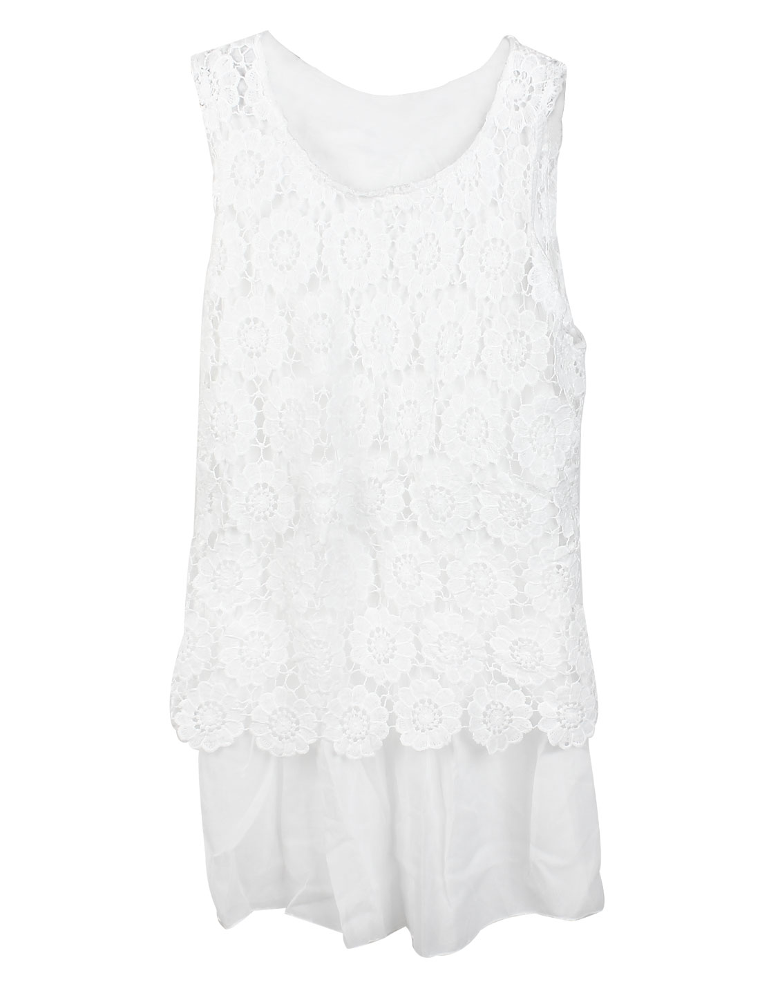 Lady Round Neck Sleeveless Crochet Overlay Tunic Top White XS
