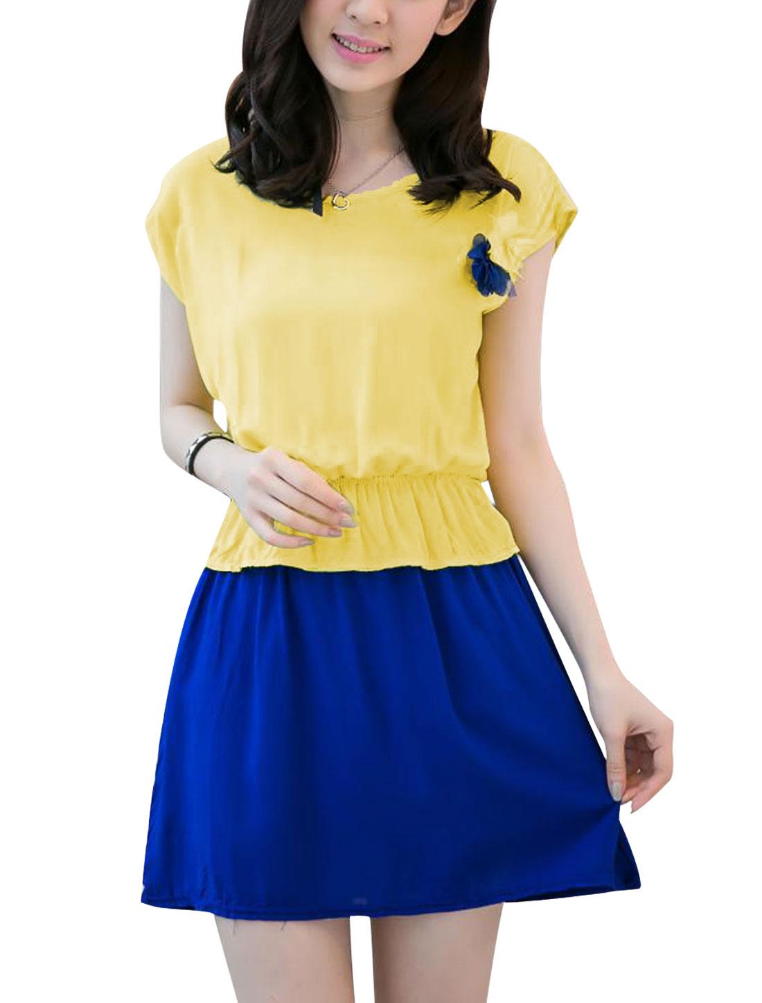Ladies Round Neck Elastic Waist Sleeveless Peplum Dress Yellow Blue XS
