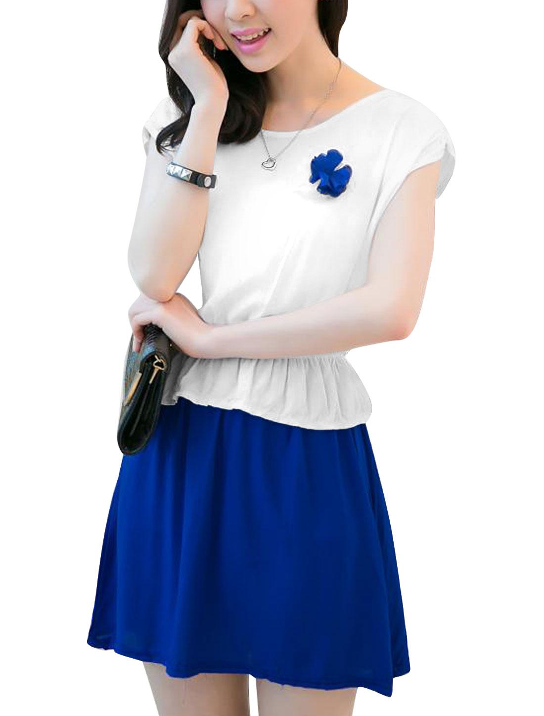 Ladies Elastic Waist Sleeveless Panel Peplum Dress White Blue XS